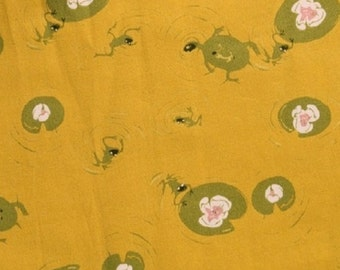 Fabric 1FQ West Hill FROG TURTLE POND Gold Lily Pad Heather Ross Free Spirit Army Green Windham Quilting Sewing