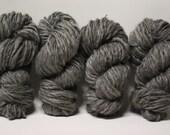 Handspun Thick and Thin Yarn Charcoal Grey Gotland Wool Slub  tts(tm) Bulky
