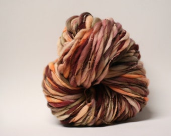 Thick and Thin Merino Handspun Wool Yarn Slub  tts(tm) Hand dyed Half-Pounder xLR 1506