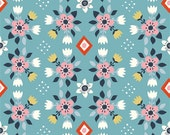 Wildland Flowerbed in Blue, Miraim Bos, 100% GOTS-Certified Organic Cotton Poplin, Birch Fabrics, MI-08-BLUE