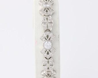 "Ornate CZ Tennis Bracelet - Sterling Silver White Cubic Zirconias Women's 7.25"" mq1775"