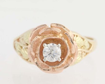 Gold Diamond Flower Ring - 14k Gold Women's Size 9 Solitaire .36ct N2003