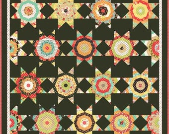 "New Midnight Pattern from Fig Tree Quilts, FTQ 1103, Comes With Ruler, 1 1/2 Strip Friendly, 62 x 62"" or 62""x75"", String Stars"
