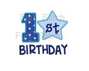 1st Birthday Shirt Embroidered Appliqued