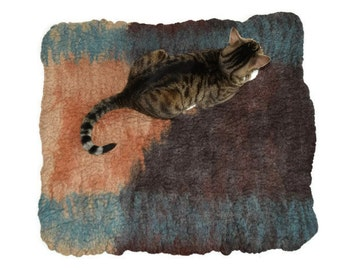 Cat Bed -  Cat Mat - Hand Felted Wool Throw Rug - Pet Mat - Pet Bed - Blue Brown Abstract - Ready to Ship