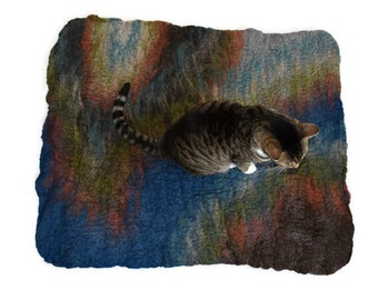 Wool Cat Mat - Hand Felted Throw Rug - Cat Bed - Sapphire Abstract