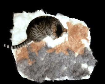 Cat Bed  - Cruelty Free Rustic Felted Alpaca Fleece Rug - MultiPaca Lt - Supporting Small US Farms - Not a Skin - Better - Ready to Ship