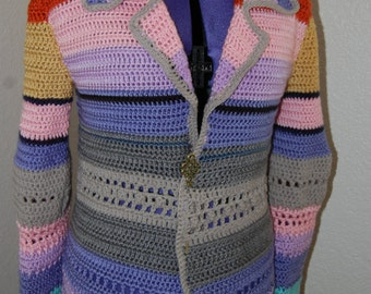 Crochet Multicolor Coat size Medium