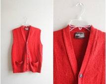 Summer Clearout Sale Vintage men's wool vest / rust orange red button down sweater vest