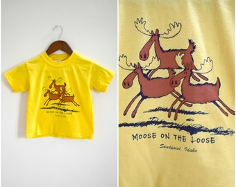 "Vintage kids ""Moose on the Loose"" Sandpoint, Idaho yellow t-shirt"
