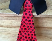 Paw Prints Dog Neck Tie or Dog Bow Tie With or Without Shirt Collar, Removable Red Dog Tie with Red Paw Prints