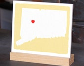 """CONNECTICUT Hand Painted Desk display - Office decor - 6""""x 6"""", Bookshelf display, Going Away gift for Family and Best friends BFF gift"""
