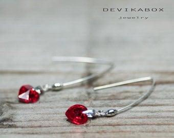 Red Heart Earrings, Dangle Heart Earrings, Crystal Earrings, Crystal Heart Earrings, Swarovski Earrings, Swarovski Heart Earrings, Earrings