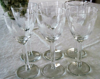 6 Vintage Mid Century Gray Cut Floral and Leaf Design Wine Sherry Crystal Glasses Circa 1950's