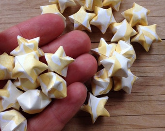 Butter Yellow Origami Stars, Table Confetti, set of 24.