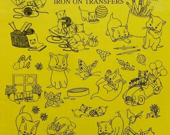 20%OFF Aunt Martha's  Hot Iron On Transfers KITTENS 1 Embroidery Patterns Booklet - Uncut