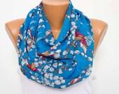 SALE -Chiffon infinity scarf ,summer scarf ,bird printed scarf