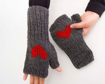 Big Sale -  Knitted fingerless heart gloves  - Red with hearts - cross stitched gloves
