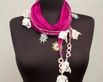 Clearance sale -Turkish oya scarf , turkish yemeni,hand crocheted lace border,summer scarf,Violet