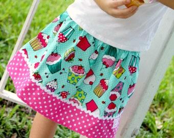 Aqua Cupcake Dot  Skirt (18 mos, 24 mos, 2t, 3t, 4t, 5, 6, 7, 8, 10)