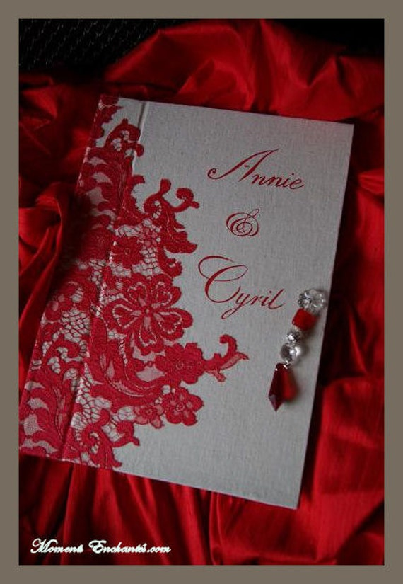 "Guest book ""Nuage de Dentelle"" lace from Le Pas de Calais french lace red with your name Personalized"