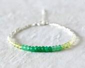 Ombre gemstone & karen hill tribe silver beaded bracelet