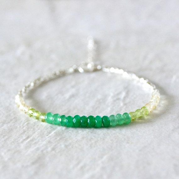 Ombre green delicate beaded bracelet
