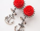 """9/16"""" 14mm Red Silver Sailor Dangle Plugs"""
