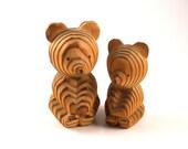 Mom Baby Bears Wood Folk Art