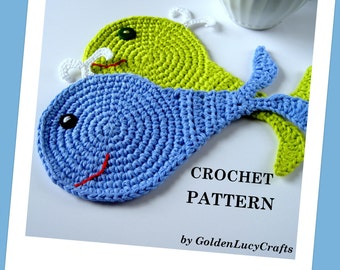 CROCHET PATTERN Whale Applique, Coaster, Sea Motif, Ocean, PDF File