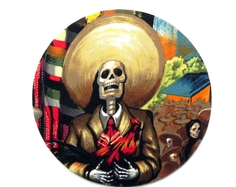 Mouse Pad - Round Fabric mousepad - Day of the Dead Fiesta - Home office / computer / Electronic
