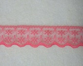 Watermellon Red Flat Scalloped Edge Lace ... 3/4 Inch Wide ... You Choose Length-1 Yard, 3 Yards, 5 Yards  ... Item No. L204