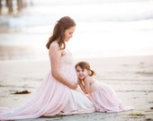 Pink Chiffon gown with lining and lace layered top/maternity gown/senior prop/photo props