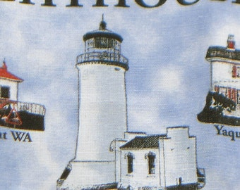 Lighthouses of the Northwest, dishcloth, linen dish cloth, Oregon Souvenir dishcloth