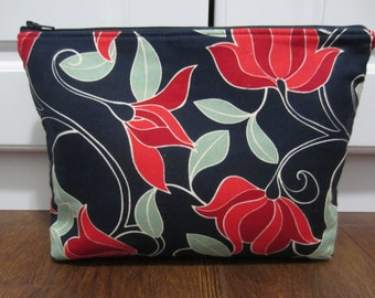 Large Cosmetic Bag, Makeup Bag, Large Zippered Pouch, Diaper Bag Pouch, Travel Pouch, Medication Case, Jewelry Pouch, Navy and Red Pouch