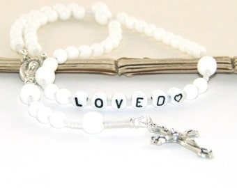 Personalised Rosary, White - You Choose Name / Custom Name Rosary / Baptism, First Communion