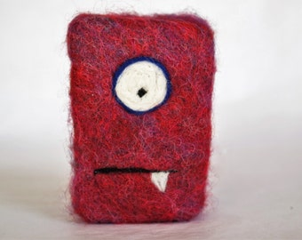 Felted soap Monster purple and red