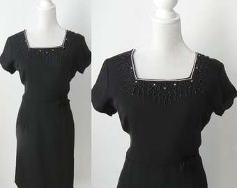 Vintage Dress, 1950s Black Dress, 50s Beaded Dress, Retro 50s Dress, Black Vintage Dress, Large 50s Dress, Large Vintage Dress, Short Sleeve