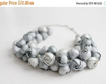 Christmas SALE Silver Ranunculus Flower Necklace Women Polymer Clay Jewelry Statement Bib Handmade Necklace Wedding Bridal Christmas Party A