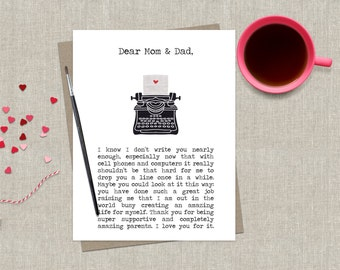 Funny Mom & Dad Card Greeting Card Encouragement Stationery for Parents Thinking of You Typewriter Mother Father Greeting Card Thank You