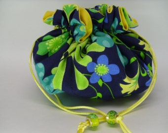 Blue and floral yellow inside