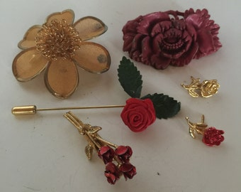 Flowers Brooches Pin Vintage Lot 751