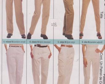 "1990's Sewing Pattern Womens High Waist Pants Straight Leg Side Pockets Size 14 Waist 28"" Hip 38"" McCall's 2080"