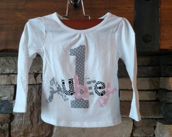 Girl, toddler, baby personalized birthday number / initial and name applique SHIRT, soft pink, gray, number and name sizes NB - 16