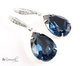 Blue Bridal Earrings Navy Bride Earrings Wedding Jewelry Swarovski Crystal Montana Blue Teardrop Earrings Bridesmaid Gift Something Blue