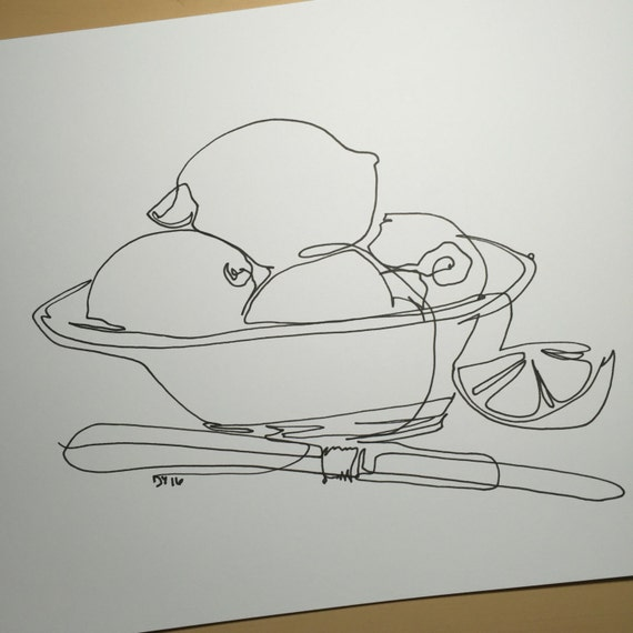 Contour Line Drawing Of Fruit : Items similar to still life minimal line art