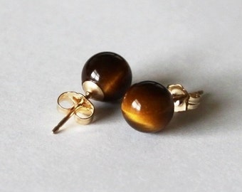 Natural Tiger eye stud earrings- 14K gold filled earrings- Brown gemstone studs- Golden brown stone earrings- Tiger eye studs-Gold earrings
