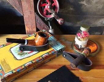 Leather Pipe & Cigar Rest - Thick Latigo or Buffalo leather