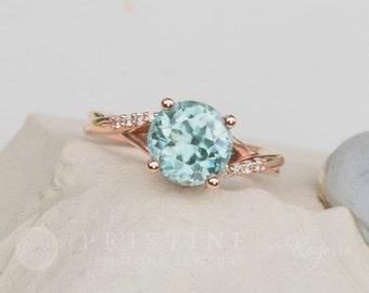 Natural Blue Zircon Rose Gold Engagement Ring Wedding Ring for Her December Birthstone