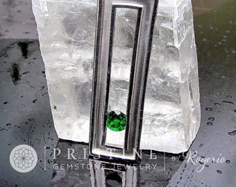 Tsavorite Garnet Pendant in Contemporary Sterling Silver Setting, January Birthstone Gemstone Jewelry